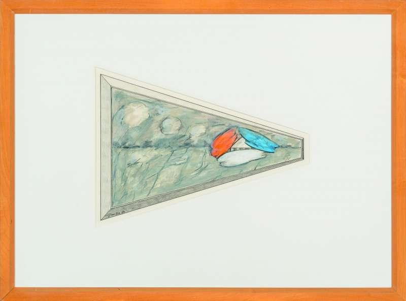 Ger van Elk, Detail kleurenproef met oranje, wit, blauw accent, 1984